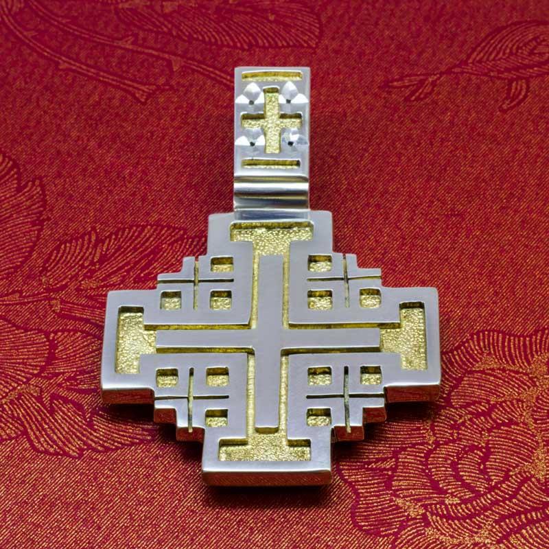 Крест-из-серебра-с-позолотой